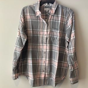 *NWT* Lucky Brand Pink & Gray Flannel Top